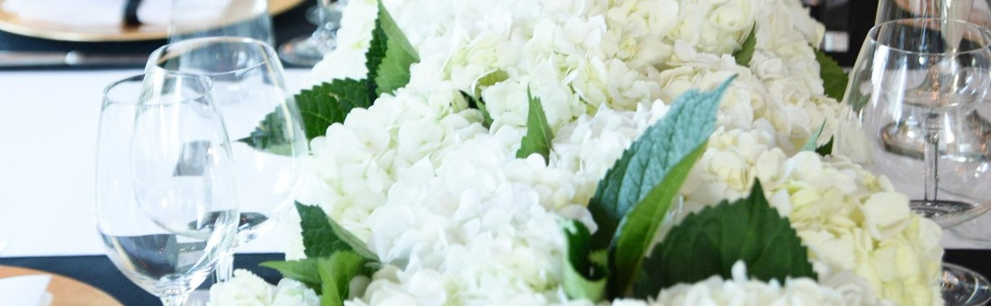 White hydrangeas wedding table runner